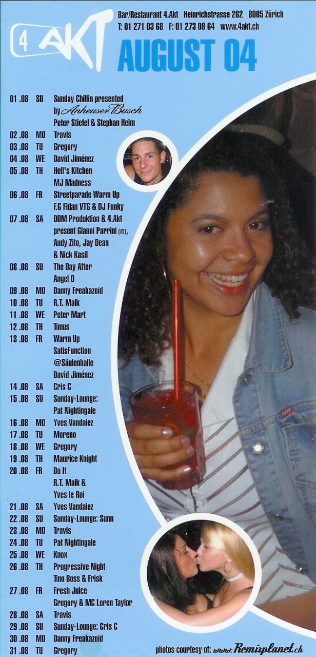Monatsprogramm August 2004 | 4 Akt (ZH)