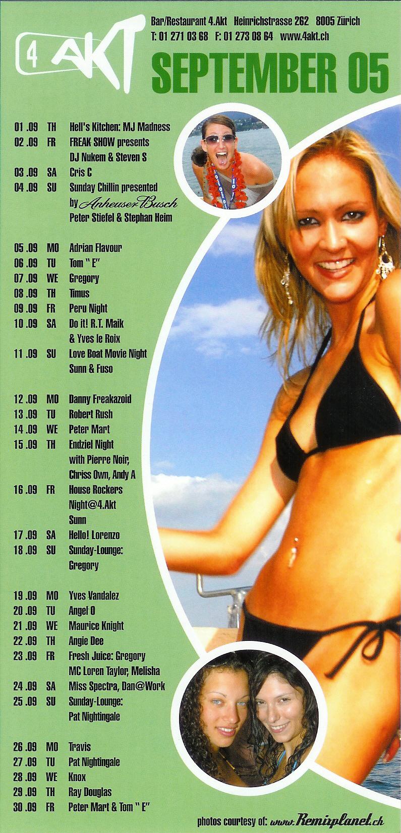 Monatsprogramm September 2005 | 4 Akt (ZH)