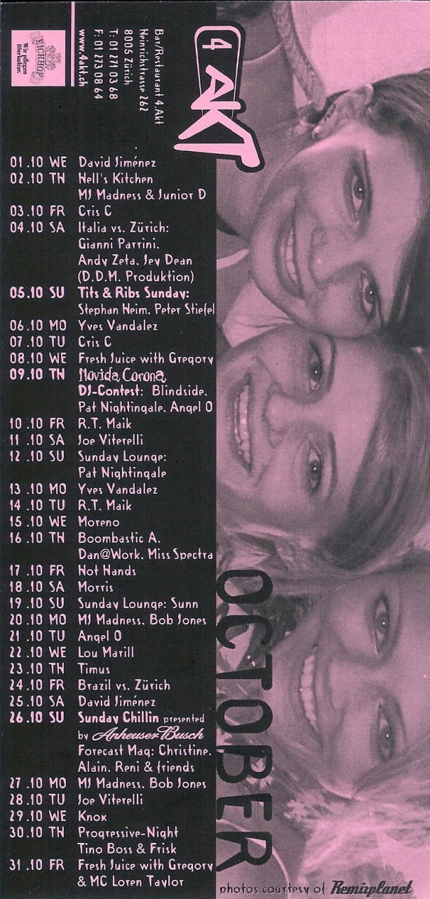 Monatsprogramm Oktober 2003 | 4 Akt (ZH)