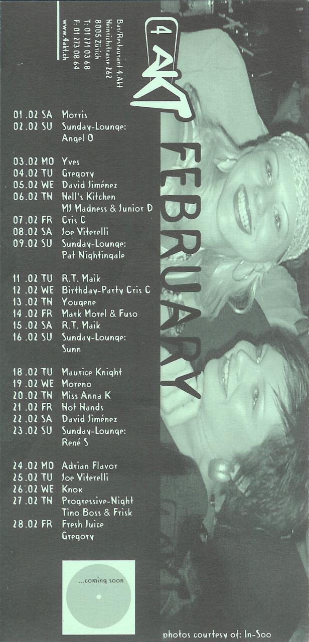 Monatsprogramm Februar 2003 | 4 Akt (ZH)