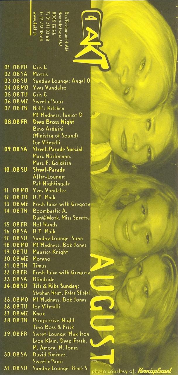 Monatsprogramm August 2003 | 4 Akt (ZH)