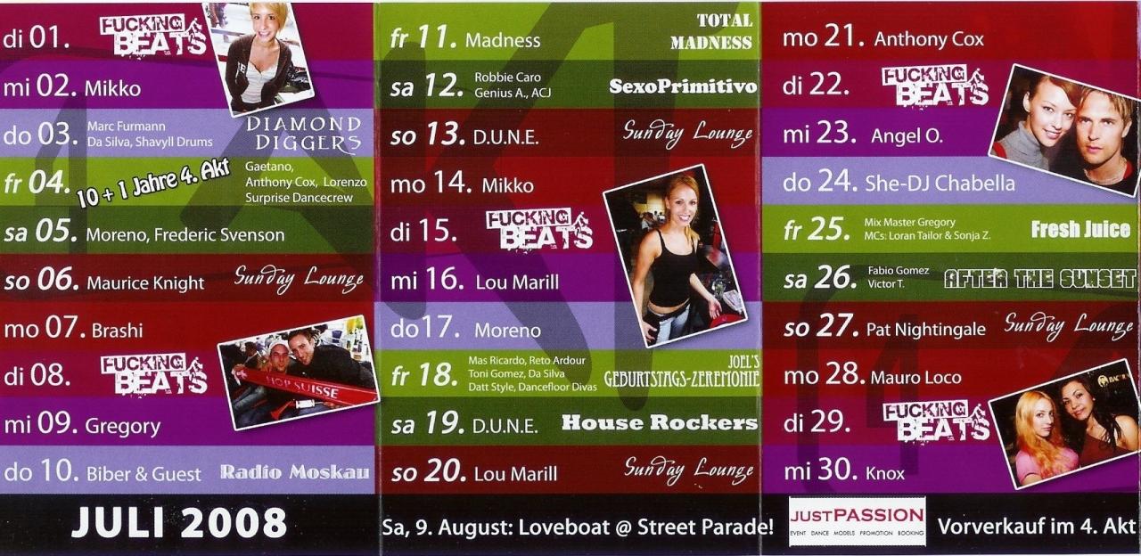 Monatsprogramm Juli&August 2008 | 4 Akt (ZH)