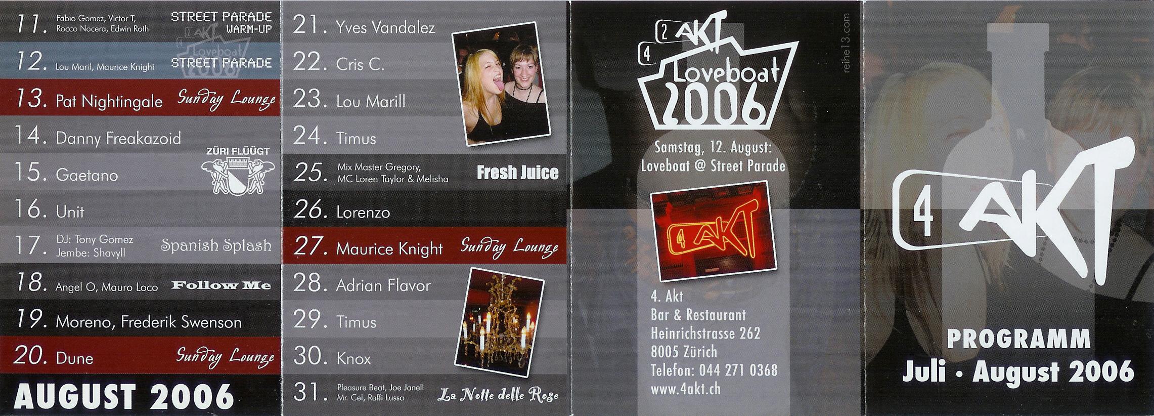 Monatsprogramm Juli&August 2006 | 4 Akt ZH