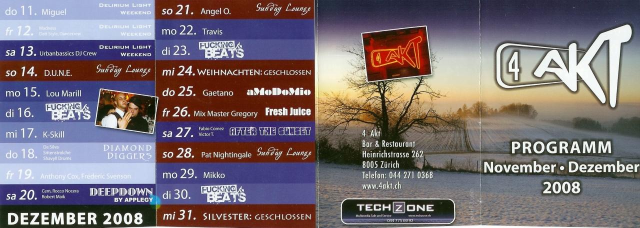 Monatsprogramm Dezember 2008 | 4 Akt (ZH)