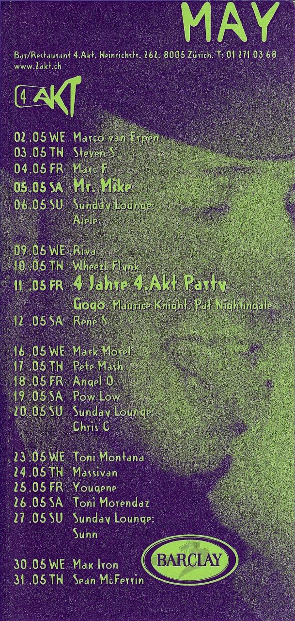 Monatsprogramm May 2001 | 4 Akt (ZH)
