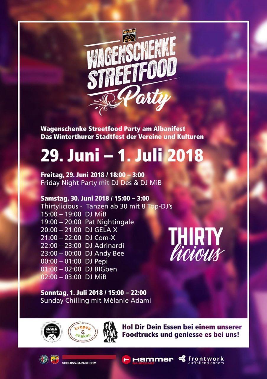 Thirtylicious mit DJ Pat Nightingale | Wagenschenke Streetfood Party, Winterthur (ZH) > Samstag 30.06.2018 | Thirtylicious, Wagenschenke Streetfood Party am Albani Fest (Strehlgasse 11) > 19.00 – 20.00 Uhr
